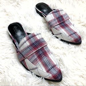 Charles David blue and red plaid pointed toe mules